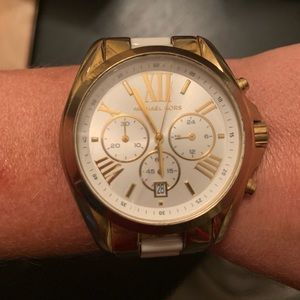 Great condition gold and white Michael Kora watch